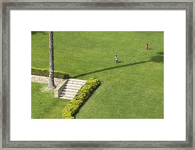 Children In Courtyard, Santa Barbara County Courthouse Framed Print by Andrew Peacock