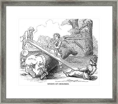 Children On Seesaw, 1854 Framed Print by Granger