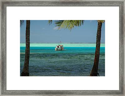 Children Playing On Anchored Workboat Framed Print by Simon Foale