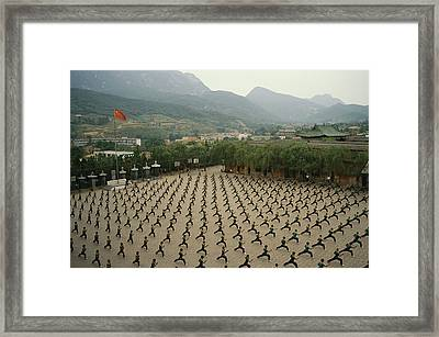 Children Practice Kung Fu Framed Print by Justin Guariglia