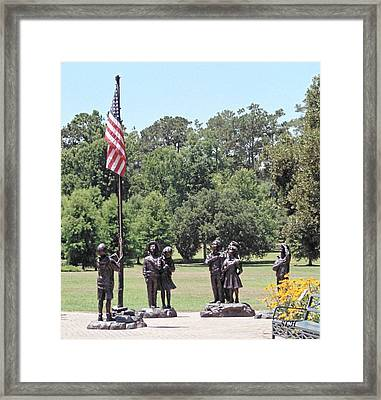 Children Raise The Flag Framed Print