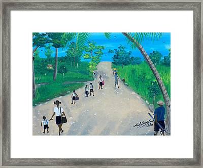 Children Walking To School Framed Print by Nicole Jean-Louis