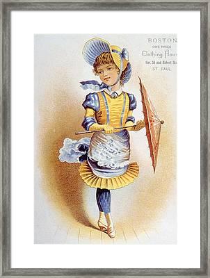 Childrens Fashion, Circa 1890 Framed Print by Everett