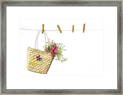 Child's Straw Purse With Flowers Framed Print