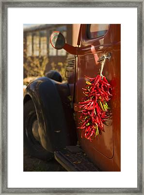 Chile Hang From The Door Of An Old Framed Print