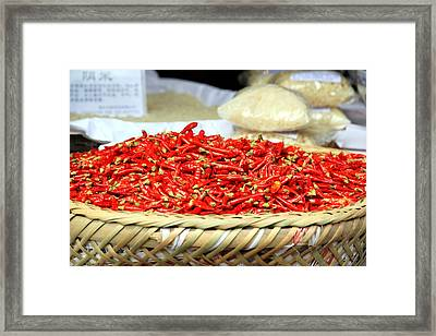 Chili Peppers Framed Print by Valentino Visentini
