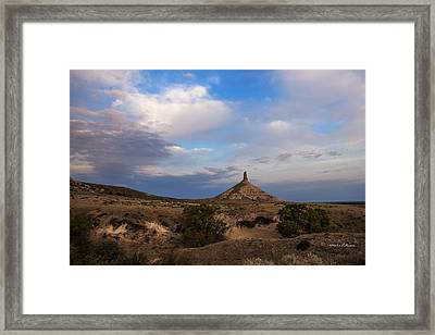 Chimney Rock On The Oregon Trail Framed Print by Edward Peterson