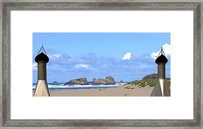 Chimneys Of Cannon Beach Framed Print