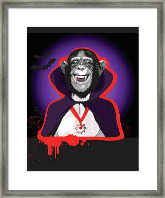 Chimpanzee In Dracula Costume Framed Print by New Vision Technologies Inc