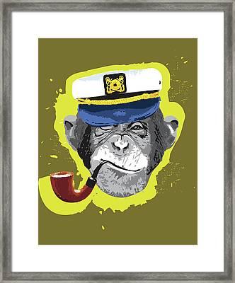 Chimpanzee Wearing Captain's Hat, Smoking Pipe Framed Print