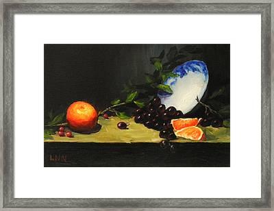 China Bowl And Fruits Framed Print