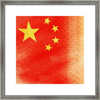 China Flag Framed Print by Setsiri Silapasuwanchai