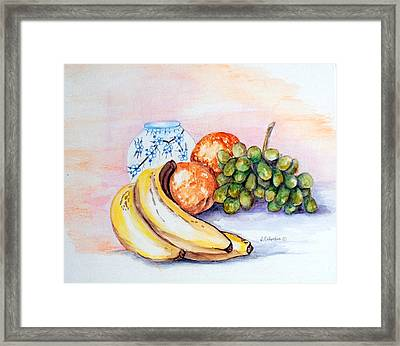 China Vase With Fruit Framed Print by Janna Columbus