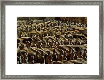 Chinas Great Terracotta Army Is Seen Framed Print by O. Louis Mazzatenta