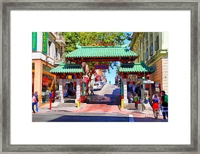 Chinatown Gate In San Francisco . 7d7139 Framed Print by Wingsdomain Art and Photography