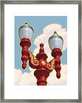Chinatown Street Light Framed Print by Mitch Frey