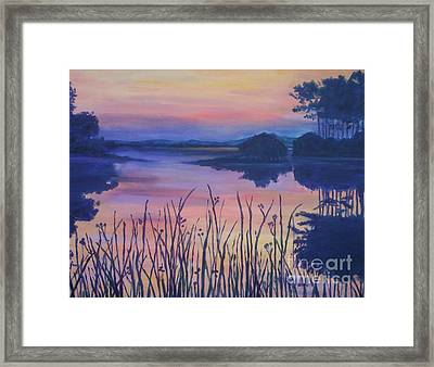 Framed Print featuring the painting Chincoteaque Island Sunset by Julie Brugh Riffey