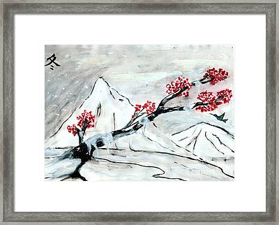 Chinese Brush Paint Winter Framed Print by Shashi Kumar
