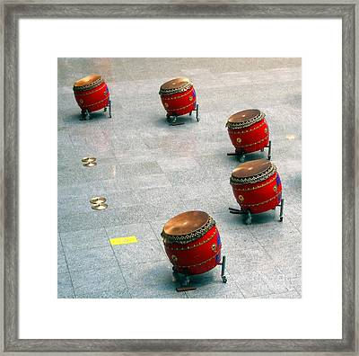 Chinese Drum Set Framed Print by Yali Shi