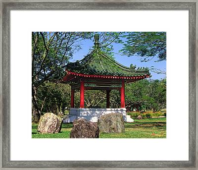 Framed Print featuring the photograph Chinese Gardens Garden Pavilion 21b by Gerry Gantt