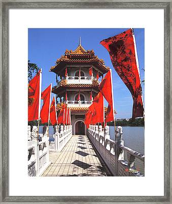 Framed Print featuring the photograph Chinese Gardens  North Pagoda 19c by Gerry Gantt
