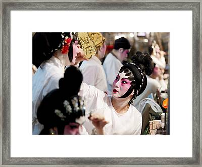 Chinese Opera Performers Prepare Framed Print by Justin Guariglia