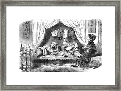Chinese Opium Den Framed Print by Science Source