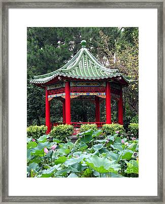 Chinese Pavilion And Lotus Flowers Framed Print by Yali Shi