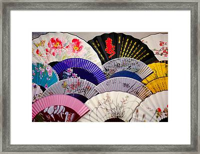 Chinese Traditional Fans Framed Print by Pan Hong