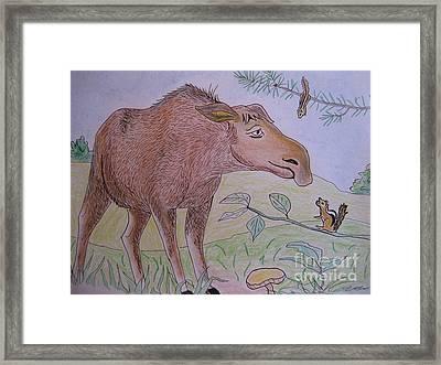 Chipmunks Tease Mildred The Moose Framed Print