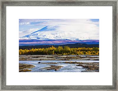 Chistochina River And Mount Sanford Framed Print by Yves Marcoux
