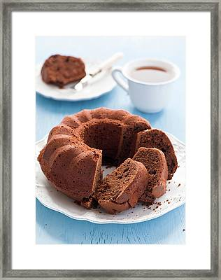 Chocolate Cake And Tea Framed Print by Verdina Anna