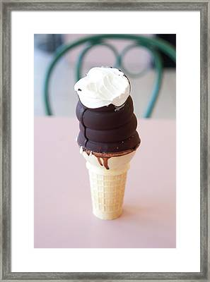 Chocolate Dipped Ice Cream Cone Framed Print by Marlene Ford