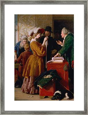 Choosing The Wedding Gown From Chapter 1 Of 'the Vicar Of Wakefield' Framed Print by William Mulready