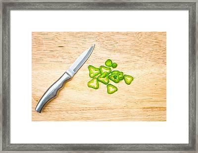 Chopped Chilli Framed Print by Tom Gowanlock