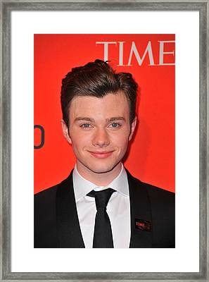 Chris Colfer At Arrivals For Time 100 Framed Print by Everett