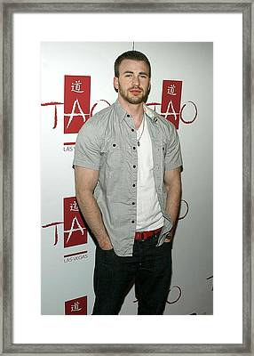 Chris Evans At Arrivals For Tao Partner Framed Print by Everett