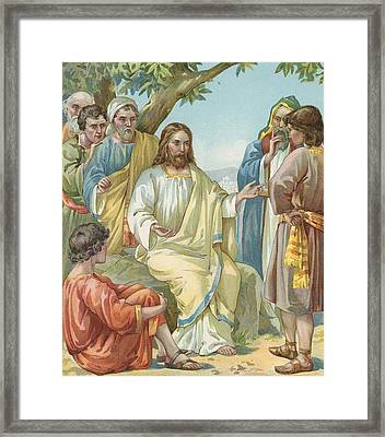 Christ And His Disciples Framed Print by Ambrose Dudley