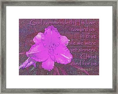 Christ Died For Us Framed Print by Larry Bishop