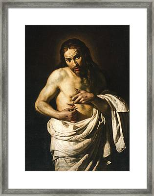 Christ Displaying His Wounds Framed Print by Giacomo Galli