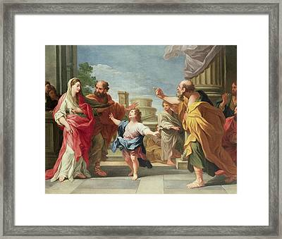 Christ Preaching In The Temple Framed Print by Ludovico Gimignani