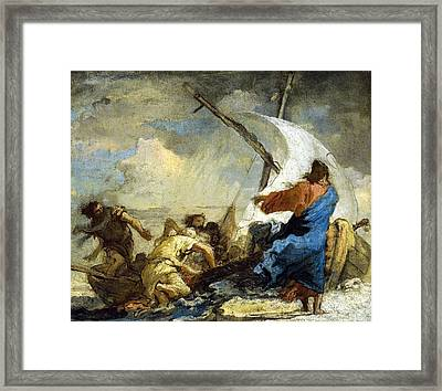 Christ Stills Thetempest Framed Print by Giovanni Domenico Tiepolo