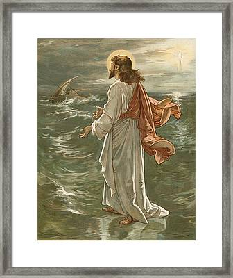 Christ Walking On The Waters Framed Print by John Lawson