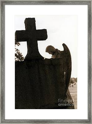 Christian Art - Angel At Grave With Large Cross Framed Print by Kathy Fornal