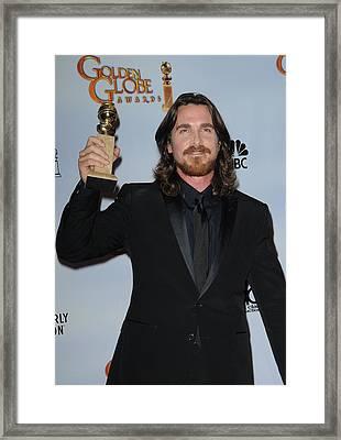 Christian Bale In The Press Room Framed Print