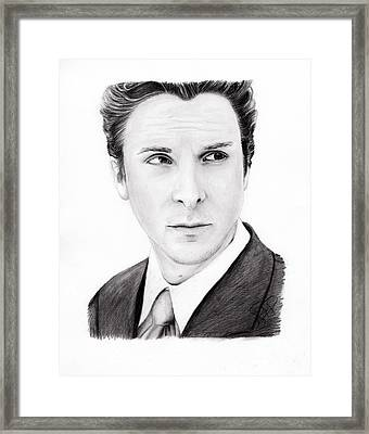 Christian Bale Framed Print by Rosalinda Markle