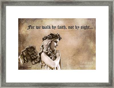 Christian Faith Girl Angel With Praying Hands Framed Print by Kathy Fornal