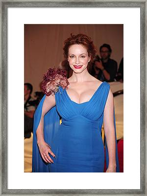 Christina Hendricks  Wearing A Dress Framed Print by Everett