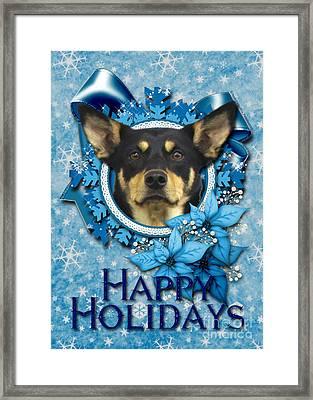 Christmas - Blue Snowflakes Australian Kelpie Framed Print by Renae Laughner