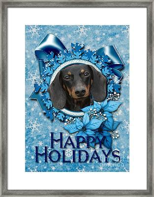 Christmas - Blue Snowflakes Dachshund Framed Print by Renae Laughner